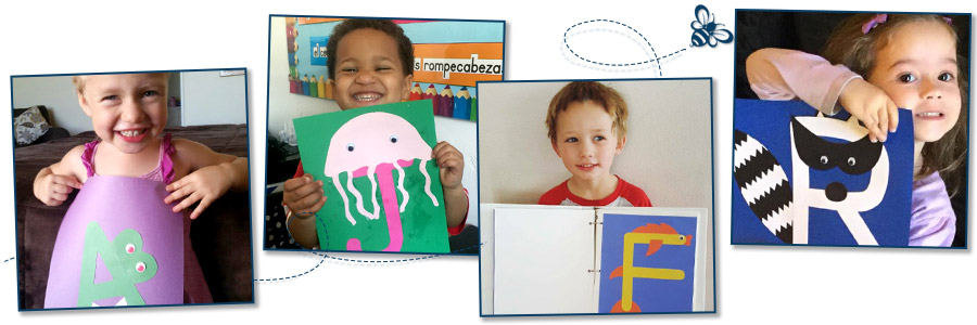 Collage of children with finished crafts
