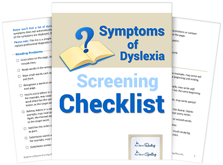 Symptoms of Dyslexia Screening Checklist